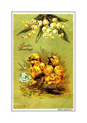 Photograph - Easter Greetings 1907 Vintage Postcard by Audreen Gieger