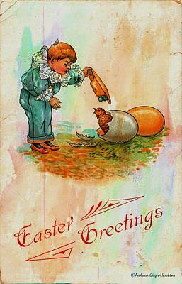 Photograph - Easter Greetings 1912 Postcard by Audreen Gieger