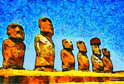 Statue Portrait Painting - Easter Island by George Rossidis