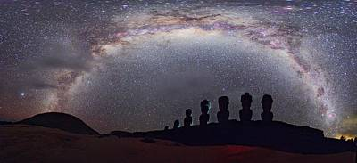 Easter Island Moai And Milky Way Art Print