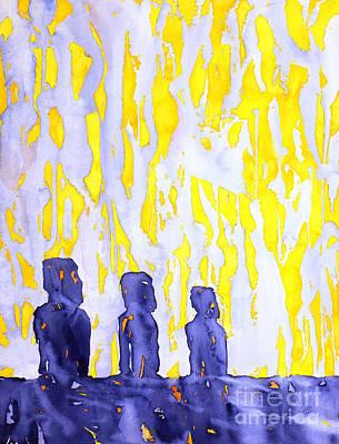 Easter Island Moai Sunrise Original by Ryan Fox