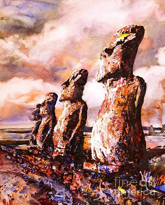 Easter Island Moai Watercolor Original by Ryan Fox