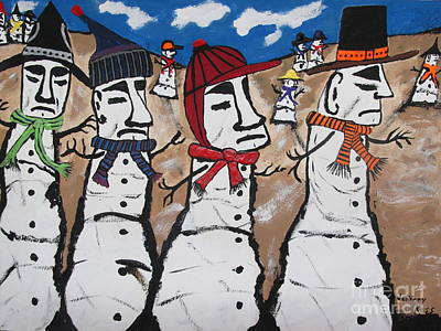 Easter Island Snow Men Art Print by Jeffrey Koss