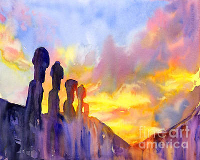Newton Painting - Easter Island Sunrise by Ryan Fox
