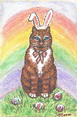 Rabbit Painting - Easter Kitty by Linda Mears