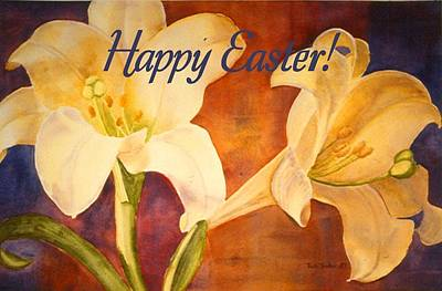 Painting - Easter Lilies Card by Ruth Soller