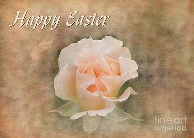 Digital Art - Easter Peach Rose by JH Designs