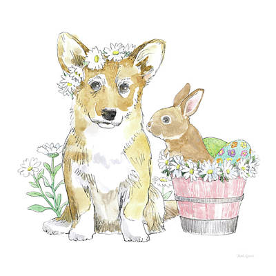 Easter Egg Painting - Easter Pups I by Beth Grove