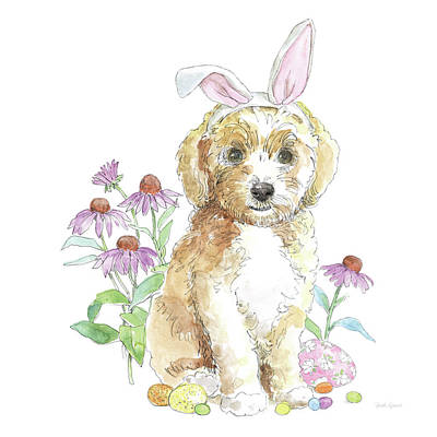 Maltese Puppy Wall Art - Painting - Easter Pups Iv by Beth Grove