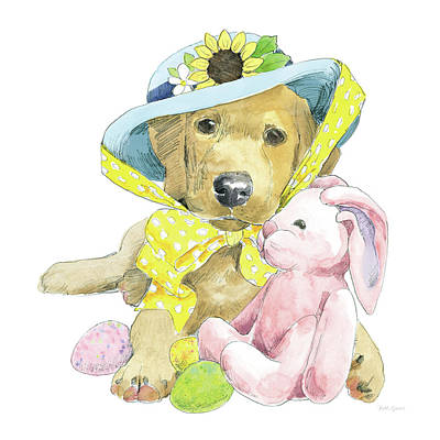 Easter Egg Painting - Easter Pups Vi by Beth Grove