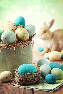Photograph - Easter Scene With Speckled Eggs In Bowl by Sandra Cunningham