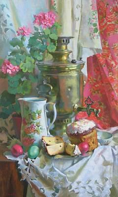 Samovar Painting - Easter Still Life by Svetlana Goryacheva