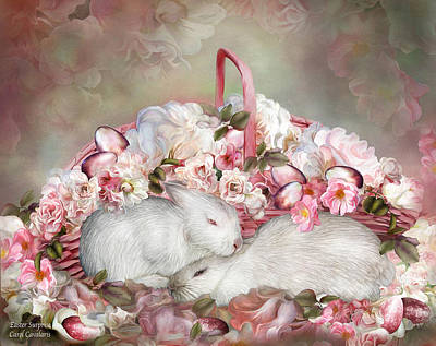 Mixed Media - Easter Surprise - Bunnies And Roses by Carol Cavalaris