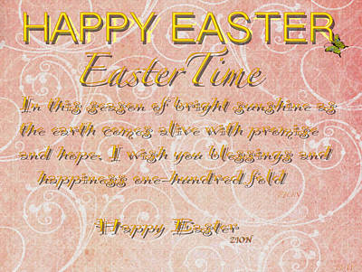 Photograph - Easter Time Card Poem by Debra     Vatalaro