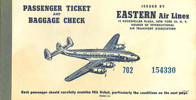 Eastern Air Lines Ticket Art Print by Dale Powell