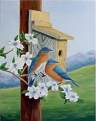 Painting - Eastern Bluebirds by Fran Brooks