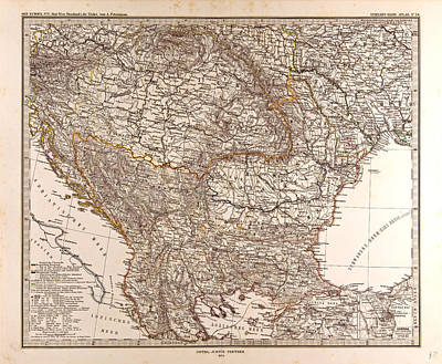 Eastern Europe Drawing - Eastern Europe Map Gotha Justus Perthes 1874 Atlas by English School