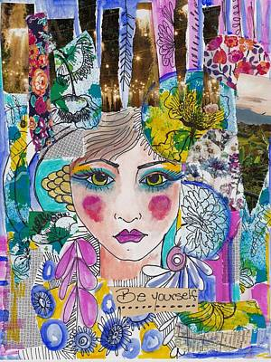 Abstract Collage Mixed Media - Eastern Flower Girl by Rosalina Bojadschijew
