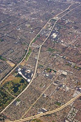 Grid Photograph - Eastern Los Angeles From The Air. by Mark Williamson