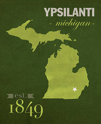 Emu Wall Art - Mixed Media - Eastern Michigan University Eagles Ypsilanti College Town State Map Poster Series No 035 by Design Turnpike