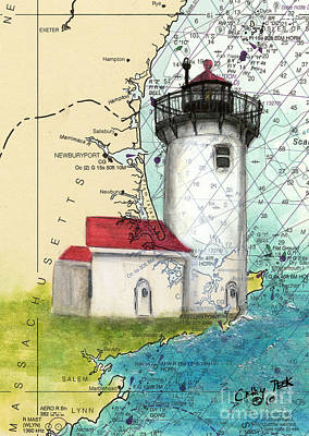 Eastern Point Painting - Eastern Pt Lighthouse Ma Nautical Chart Map Art by Cathy Peek