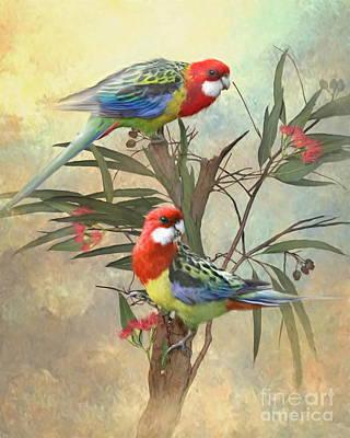Cockatoo Digital Art - Eastern Rosella by Trudi Simmonds