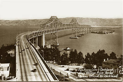 Photograph - Eastern Span Of San Francisco-  Oakland Bay Bridge Circa 1937 by California Views Archives Mr Pat Hathaway Archives