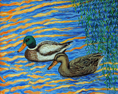 Art Print featuring the painting Eastlake Ducks by Dwain Ray