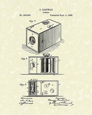 Box Drawing - Eastman Camera 1889 Patent Art by Prior Art Design