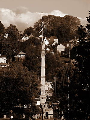 Photograph - Easton Pa - Long View Of Civil War Monument In Sepia by Jacqueline M Lewis