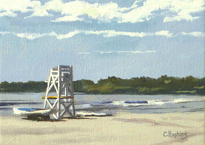 Shell Beach Inn Painting - Easton's Beach Newport Rhode Island by Christine Hopkins