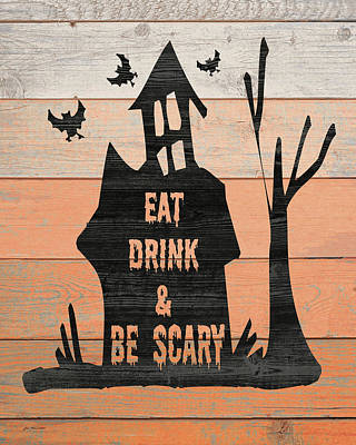 Haunted House Painting - Eat, Drink And Be Scary by Jo Moulton