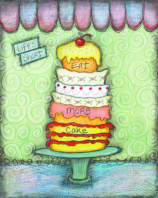 Cookbook Mixed Media - Eat More Cake by Joann Loftus