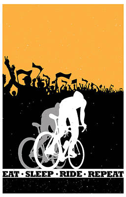 Cycling Painting - Eat Sleep Ride Repeat by Sassan Filsoof