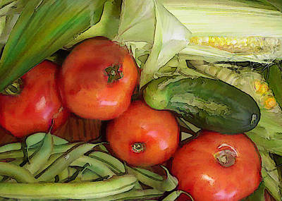 Green Beans Painting - Eat Your Veggies by Elaine Plesser
