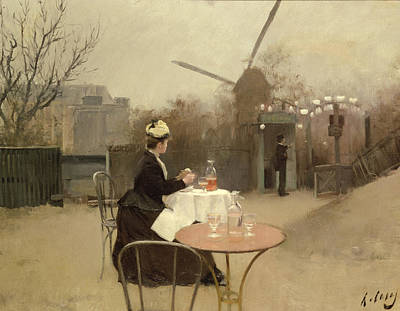 Bar Decor Painting - Eating Al Fresco by Ramon Casas i Carbo