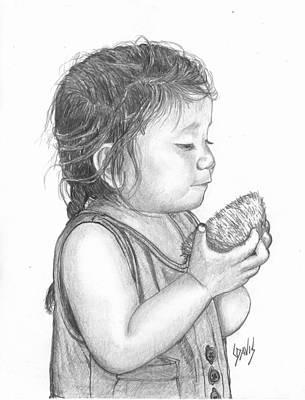 Eating Coconut Art Print by Lew Davis