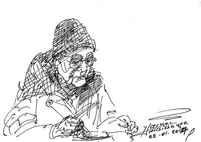 Lady Drawing - Eating  by Ylli Haruni