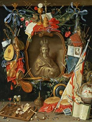 Lute Photograph - Ecclesia Surrounded By Symbols Of Vanity On Copper by Jan van, the Elder Kessel