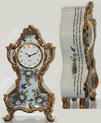 Painting - Ecclesiatical Clock by Shirley Heyn
