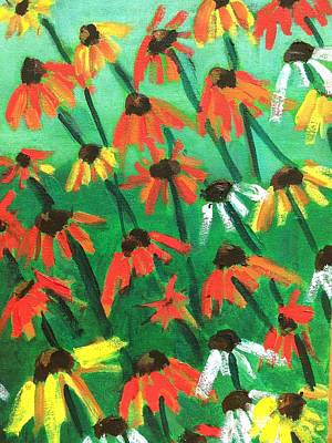 Abstracted Coneflowers Painting - Echinacea by Kendall Wishnick Adams