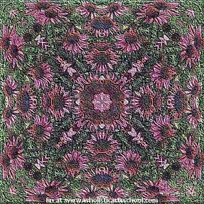 Painting - Echinacea Wildflower Embroidery Needlepoint Wallpaper Pattern by PainterArtist FIN