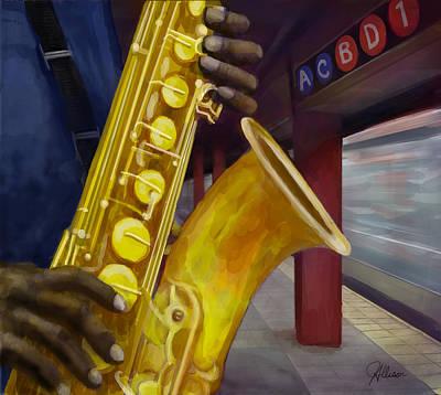 Drawing - Echoes Of Jazz  by Jennifer Allison