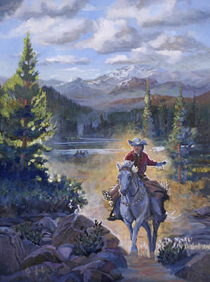 Beautiful Western Cowgirl Painting - Echoing Thunder  by Heather Coen