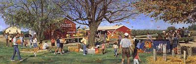Pumpkins Painting - Eckert's Market Under Big Tree 1995 by Don  Langeneckert