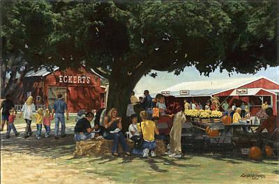 Pumpkins Painting - Eckert's Market Under Big Tree by Don  Langeneckert