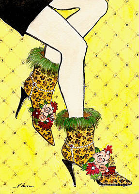 Fancy Shoes Painting - Eclectic Women's Leopard Boots On Yellow by Nan Wright