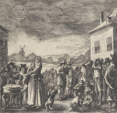 Eclipse Drawing - Eclipse Of August 12, 1654, Anonymous by Anonymous