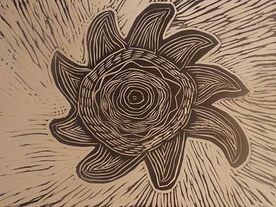 Linoleum Drawing - Eclipse Of The Sun by Stephen Wiggins