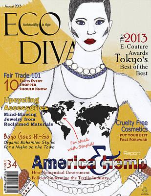 Digital Art - Eco Diva Spoof Magazine Cover by Nola Lee Kelsey